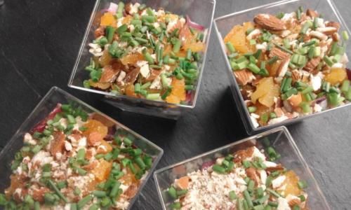 verrines d'endives carmines amandes abricots secs(buffet apéro et buffet froid)