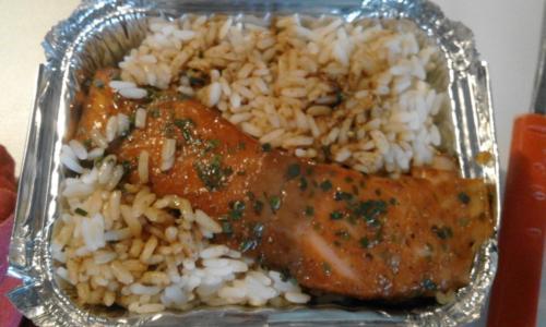 saumon sauce chicorée,sirop d'érable et riz