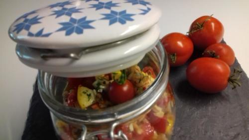 salade d'ébly courgettes tomates cerise maïs